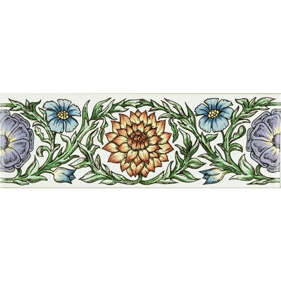 Knot Garden, Blue & Yellow Classical Decorative Border, on Brilliant White