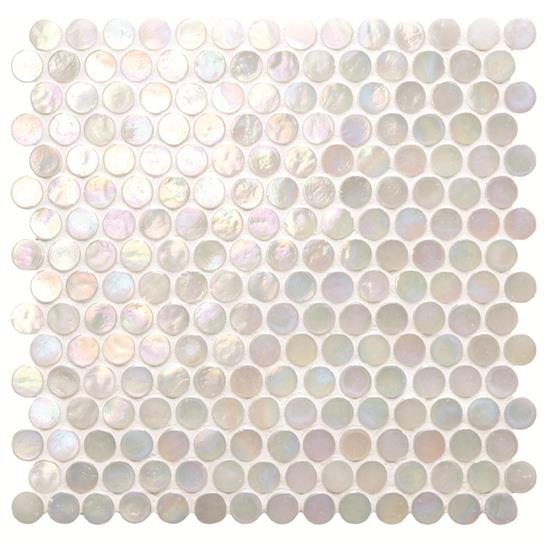 White Lady Iridescent Round Glass Mosaic