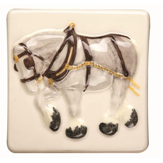 Shire Horse Relief Moulded Hand Painted on Clematis