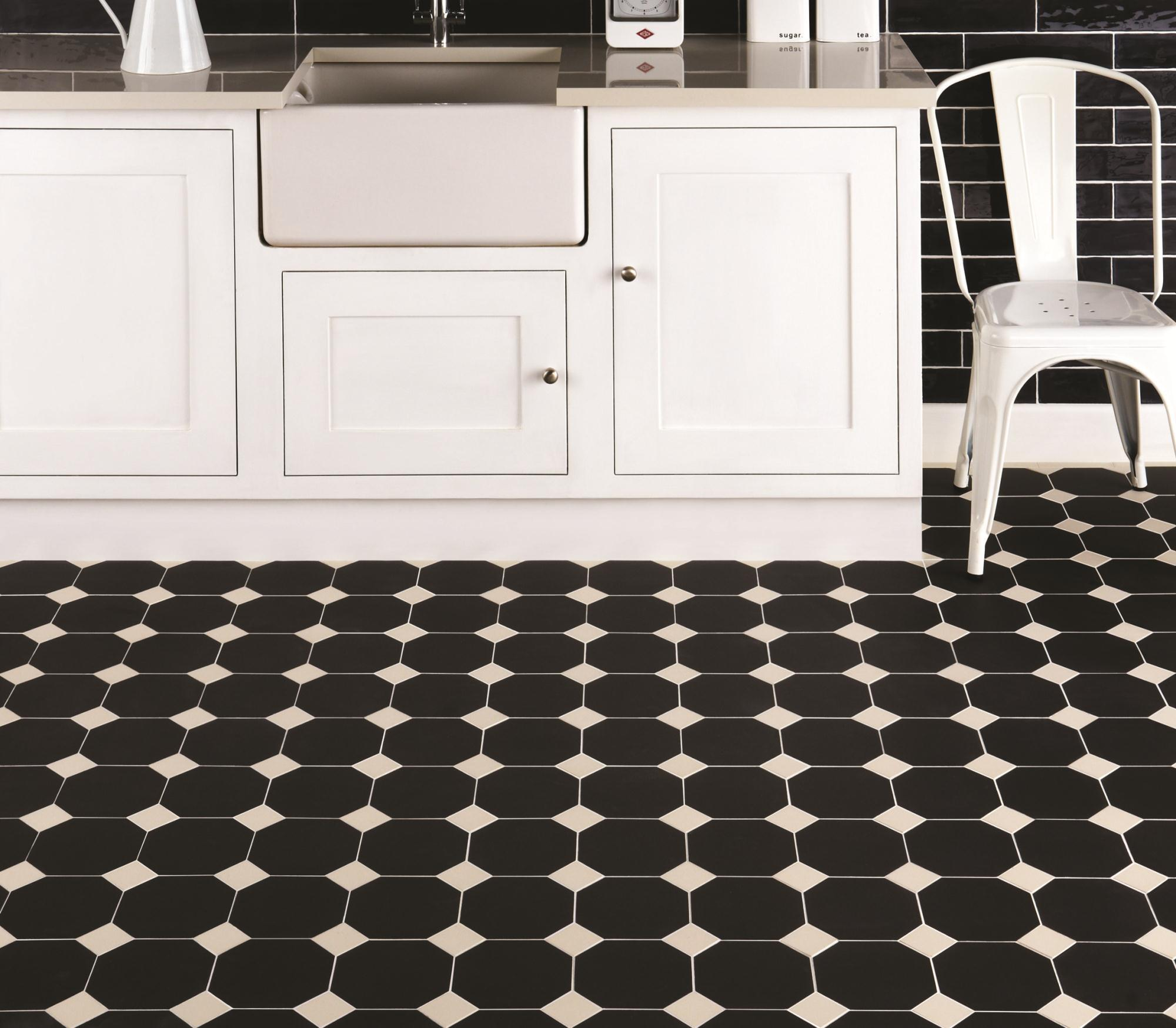 Victorian Kitchen Floor Tiles Octagon Black Ceramic Tile