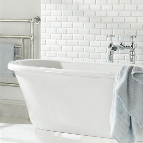 Viano White Polished Bevel Brickbond Mosaic