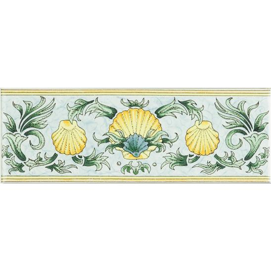 Scallop Shells, Blue & Yellow Classical Decorative Border, on Brilliant White