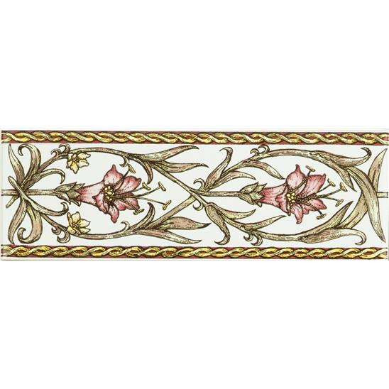 Trumpet Gentian, Pink Classical Decorative Border, on Brilliant White
