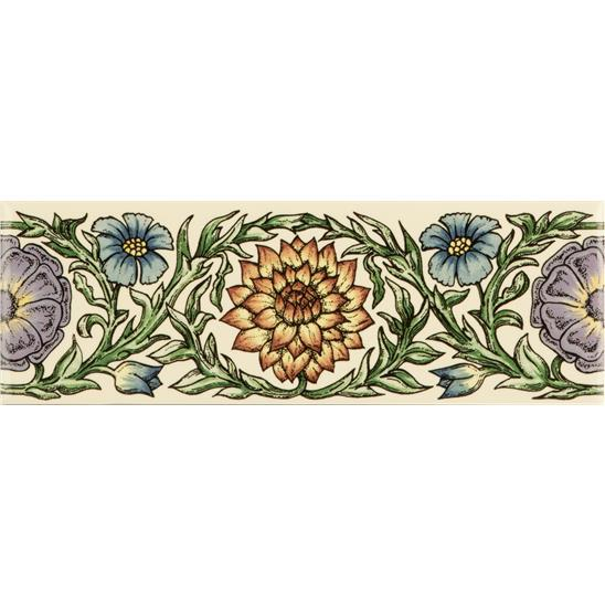 Knot Garden, Blue & Yellow Classical Decorative Border, on Colonial White