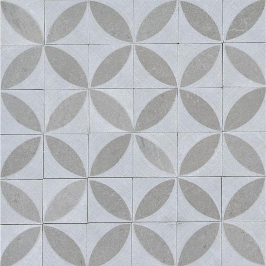 Spiral Grey Marble Honed Marble Mosaic