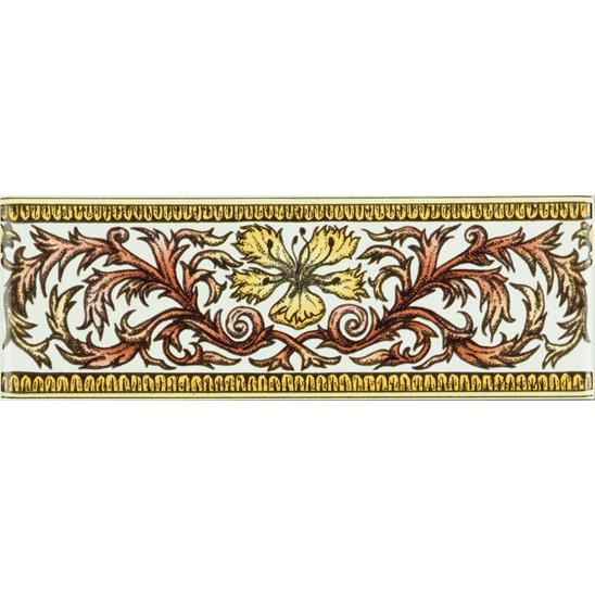 Autumn Foliage Classical Decorative Border on Brilliant White