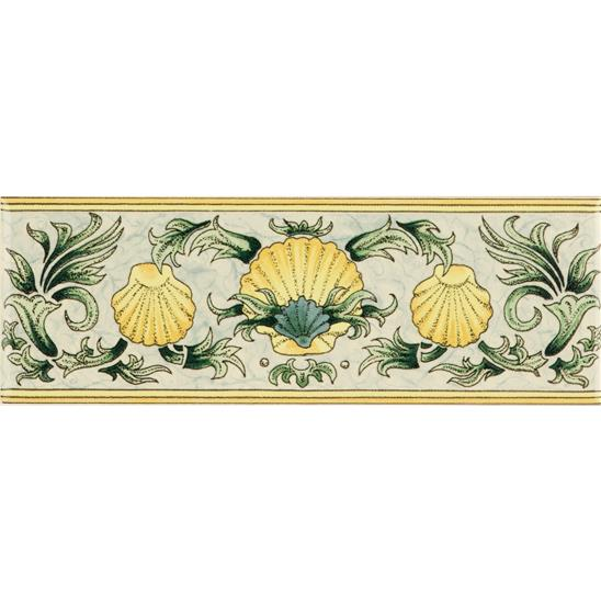 Scallop Shells, Blue & Yellow Classical Decorative Border, on Colonial White