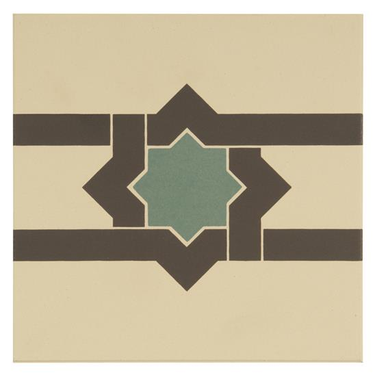 Iberian Border Dark Grey and Dark Jade on White
