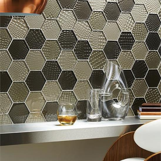 Futura Sepia Hexagon Mosaic Textured Hexagon Mosaic