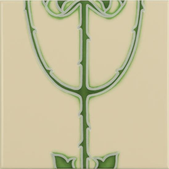 Rose And Bud Raised-Line Tiles 5-Tile Set on Colonial White