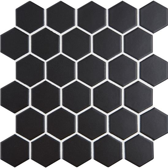 Black Large Honeycomb Floor Mosaic
