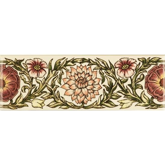 Knot Garden, Pink Classical Decorative Border, on Colonial White