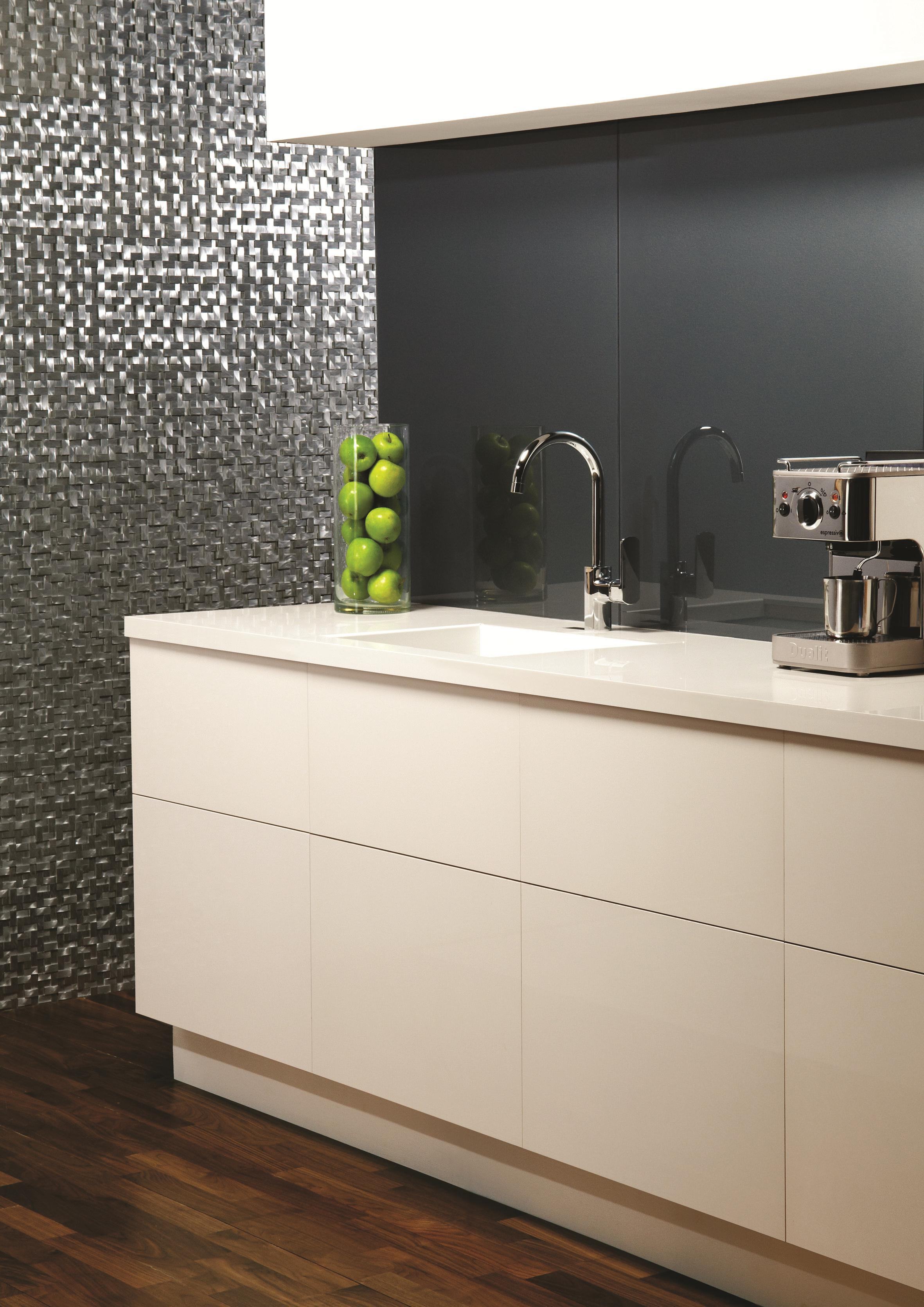 Kitchen Tiled Splashback Merle Metallic Splashback Tile