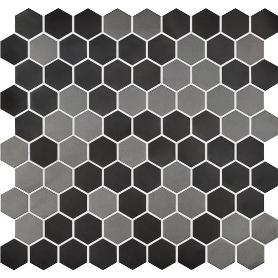 Ferro Black Hexagons Metal Mosaic