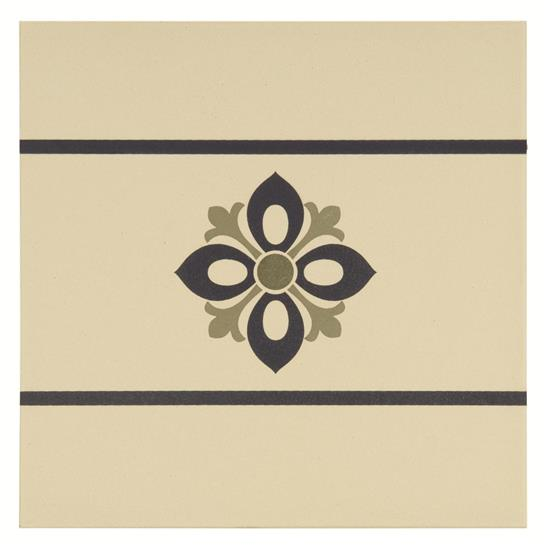 Bohemia Border Dublin, Khaki and Dark Blue on White
