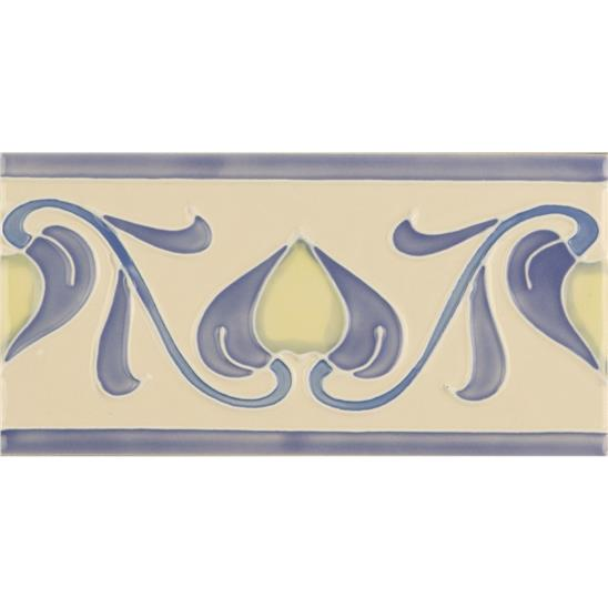 Lilium flower Border Tube-Lined Single Tile on Colonial White