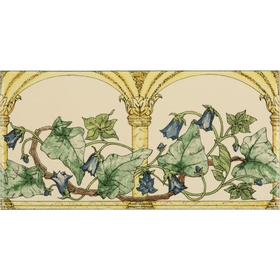 Arch And Ivy, Blue Classical Decorative Border, on Colonial White