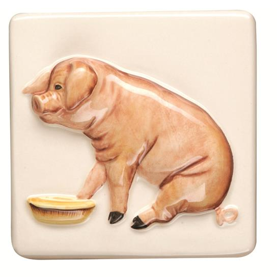 Pig Relief Moulded Hand Painted on Clematis