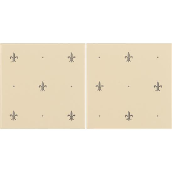 Fleur De Lis Platinum on Colonial White (2 Tile Set)