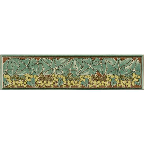 Alphonse Mucha Ivy Quarter Tile on Colonial White