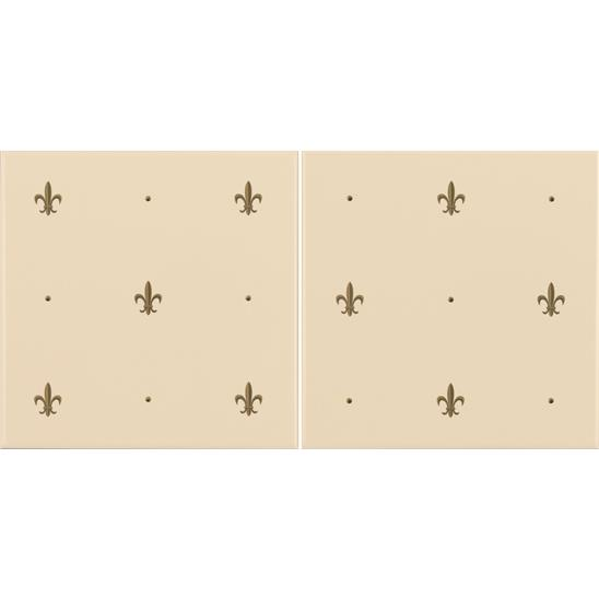 Fleur de Lis Gold on Colonial White (2 Tile Set)
