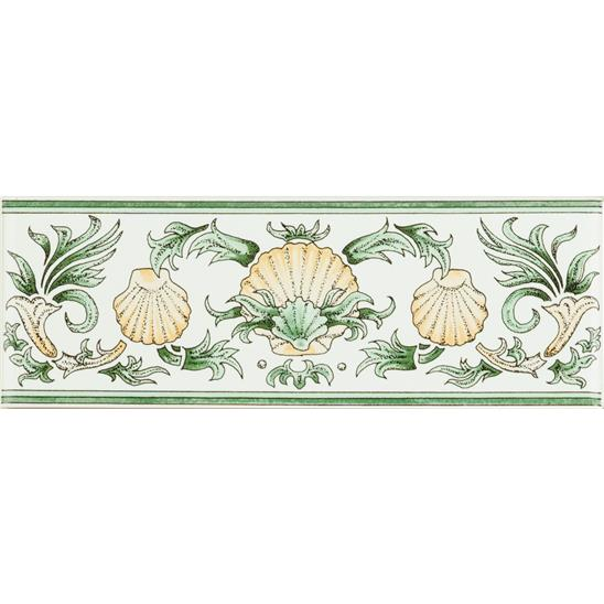 Scallop Shells, Green & Buff Classical Decorative Border, on Brilliant White