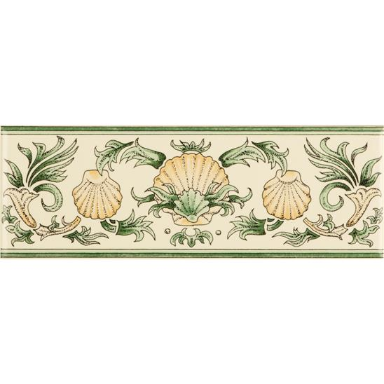 Scallop Shells, Green & Buff Classical Decorative Border, on Colonial White