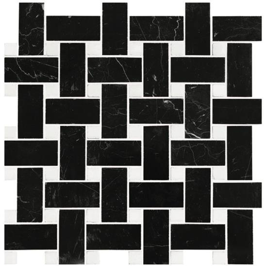 Basketweave (Black with White dot) Polished Marble Mosaic