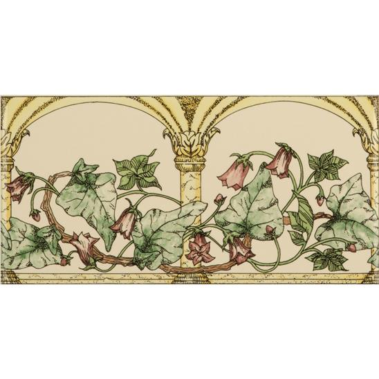 Arch And Ivy, Pink Classical Decorative Border, on Colonial White