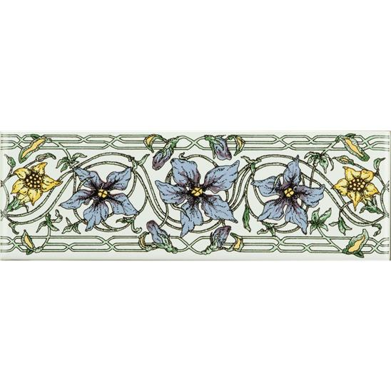 Trailing Periwinkle, Blue Classical Decorative Border, on Brilliant White