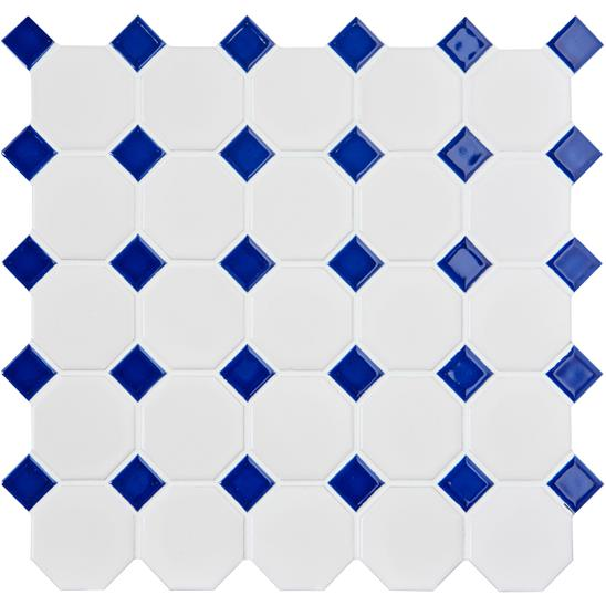 Blue Octagon & Dot Floor Mosaic