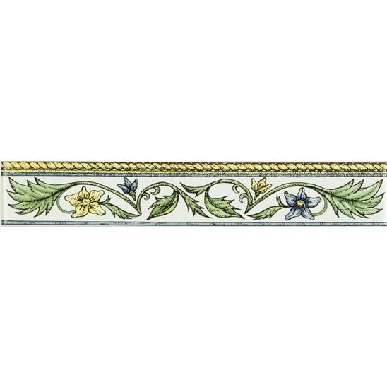 Floral Rope Classical Decorative Border, Blue & Yellow on Brilliant White