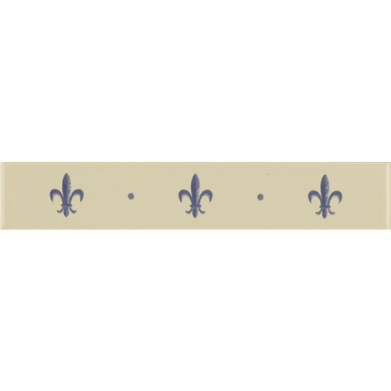 Fleur de Lis Border Royal Blue on Colonial White