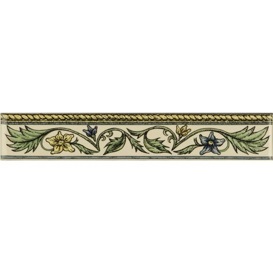 Floral Rope, Blue & Yellow Classical Decorative Border, on Colonial White