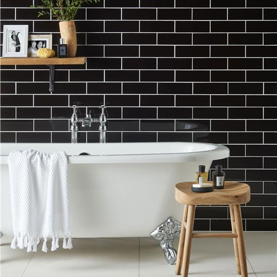 Jet Black Large Brick Ceramic Tile