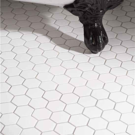 White Large Honeycomb Floor Mosaic