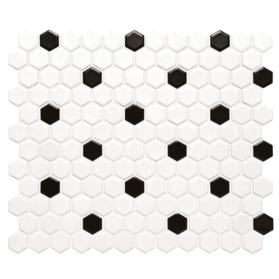 Black And White Honeycomb Floor Mosaic