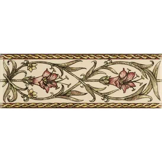 Trumpet Gentian, Pink Classical Decorative Border, on Colonial White