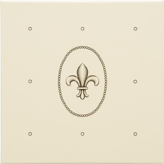Dot Cartouche with Fleur de Lis Charcoal Grey on Colonial White