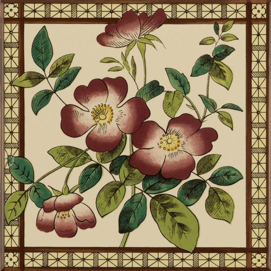 Sweetbriar Single Tile on Colonial White