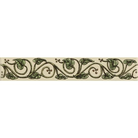 Trailing Ivy, Green Classical Decorative Border, on Colonial White