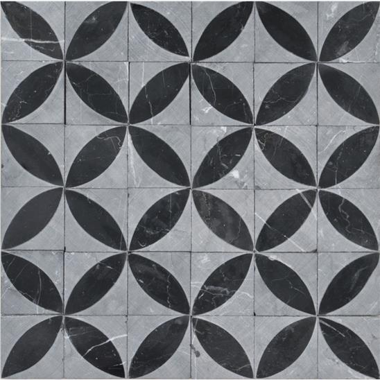Spiral Black Marble Honed Marble Mosaic