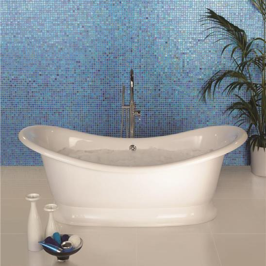 Crystal Blue Mantra Glass Mosaic