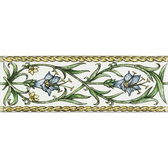 Trumpet Gentian, Blue Classical Decorative Border, on Brilliant White