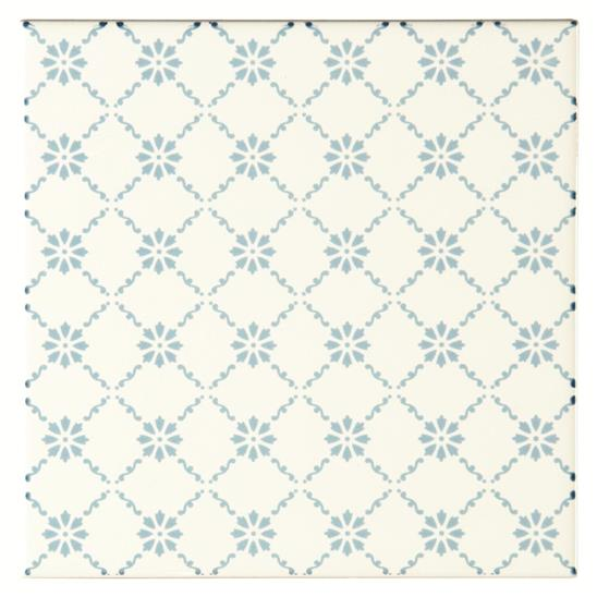 Floral Trellis Blue Sky Blue on Brilliant White
