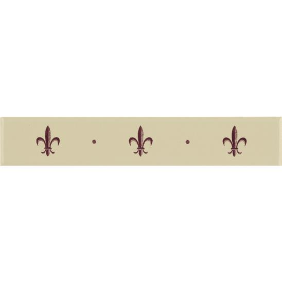 Fleur de Lis Border Burgundy on Colonial White