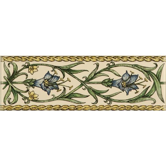 Trumpet Gentian, Blue Classical Decorative Border, on Colonial White