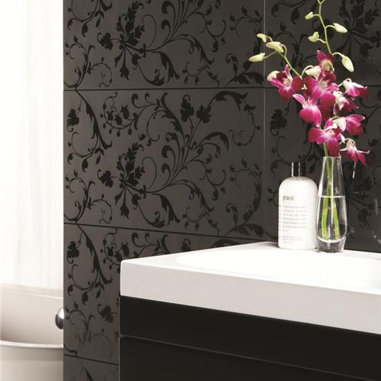 Beauville Black Negative Decorative Glass