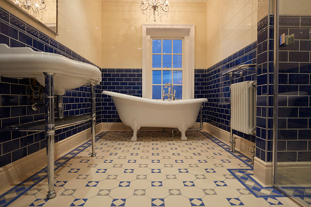Blue And White Tile Floor Bathroom Bathroom Design Ideas