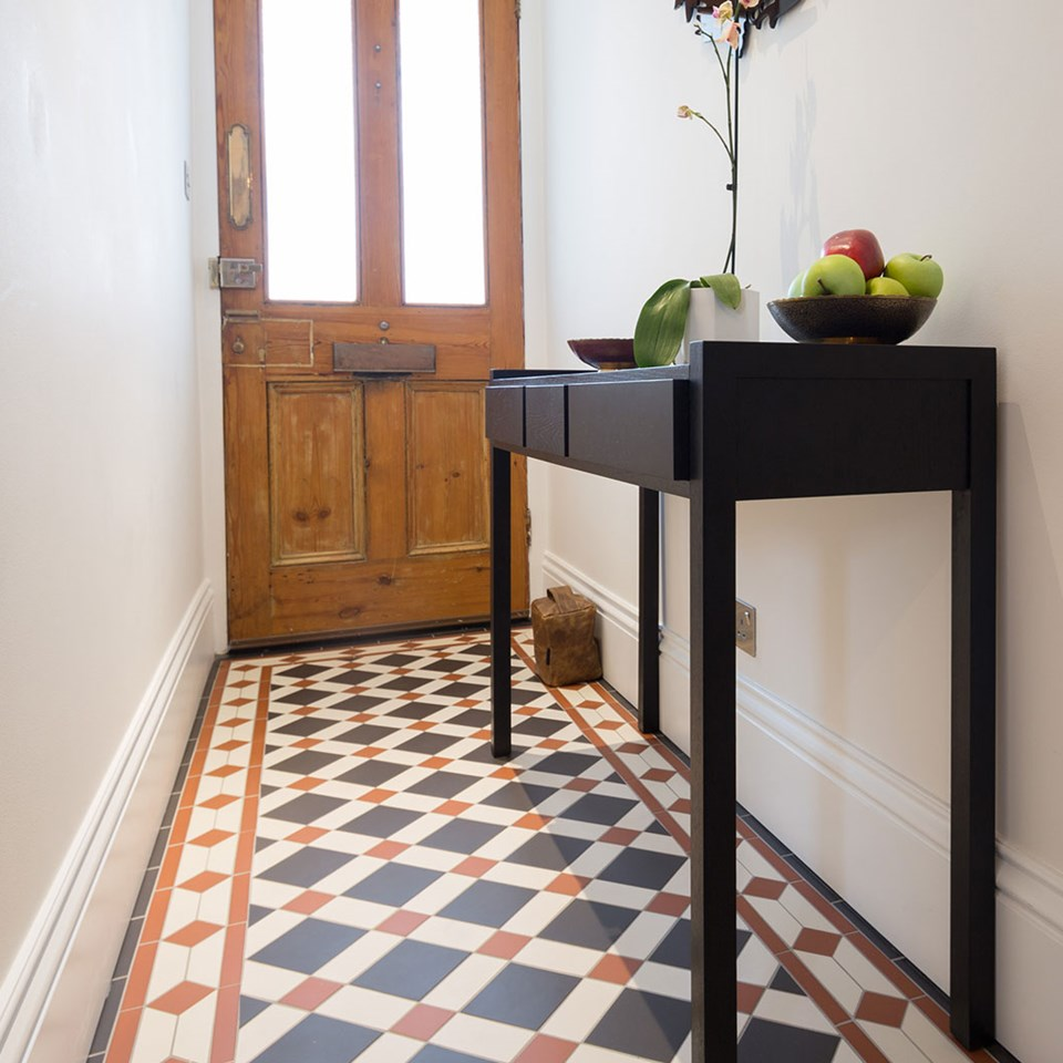 Victorian Floor Tiles - Falkirk pattern with Clare border